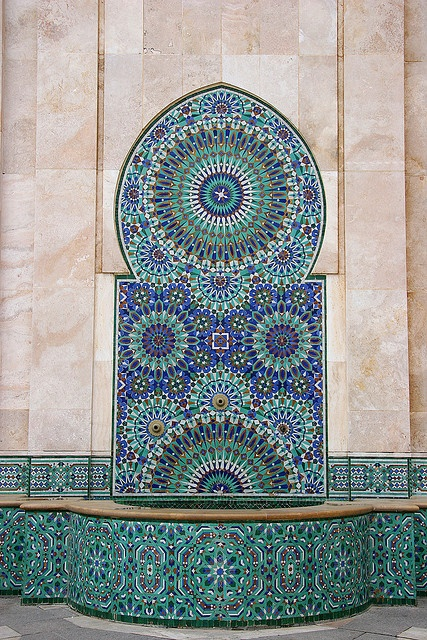 Mosaic and Fountain, Casablanca, Morocco