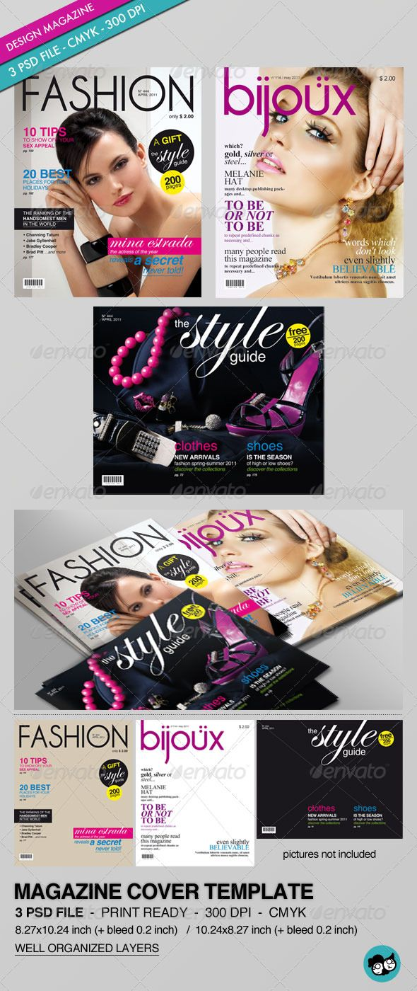 Fashion magazine cover design templates for Gq magazine cover template