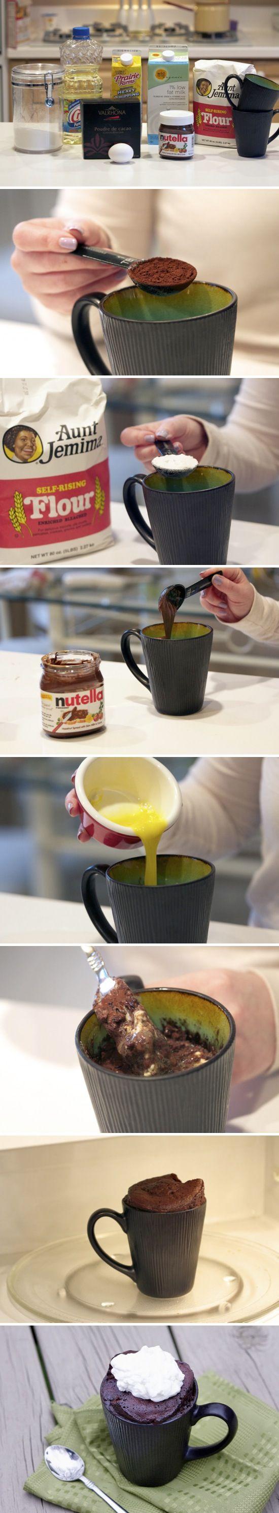 Génial le déroulé photo et recette ! - cake chocolat - pour un - micro-onde -  Easy Microwave Mug Cake...less than 5 minutes!   Recipe By Photo