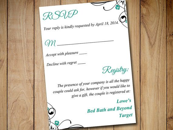 registry inserts for wedding invitations