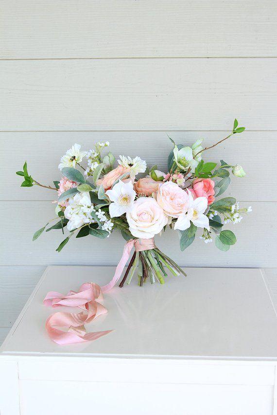 Wild loose silk flower wedding bouquet peach light coral and wild loose silk flower wedding bouquet peach light coral and ivory garden style mightylinksfo