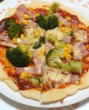 フライパンで焼く☆中力粉ピザ