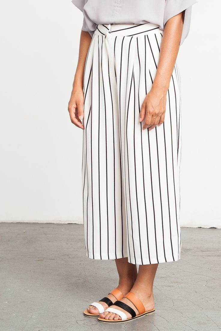 White Striped Culottes | @andwhatelse