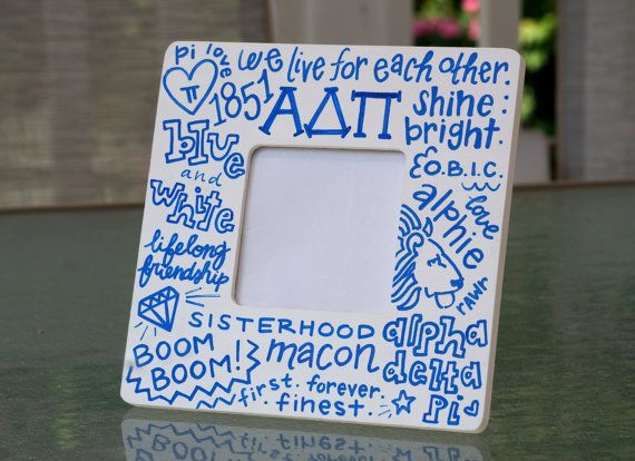 ADPi Blue & White Word Art Frame $13.00 These frames are so cute!! My friend is super talented and her work is awesome - I'd recommend it to anyone!