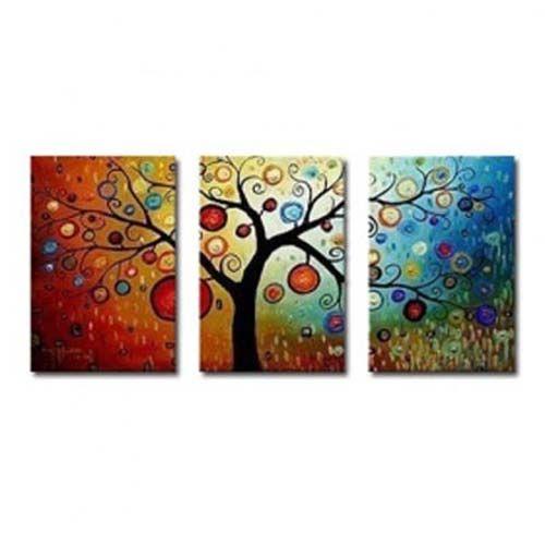 Foto 3 piezas hecho a mano de pintura abstracta colorida Tree Oil Painting foto 822561