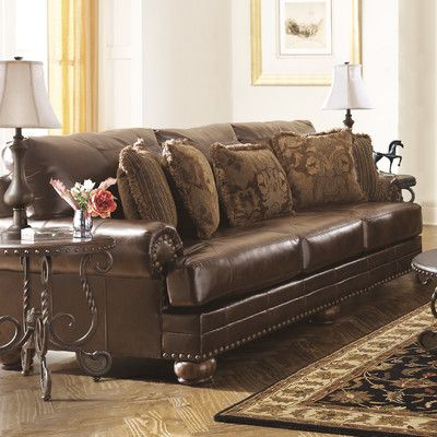 Signature Design by Ashley Leighton Leather Sofa   Reviews   Wayfair. Best 25  Ashley leather sofa ideas on Pinterest   Leather couches