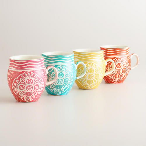 Spring Floral Bella Mugs at Cost Plus World Market- fill with Cinnamon bun coffee and enjoy the nice weather.>>  #WorldMarket Easter Style Hunt Sweepstakes. Enter to win a 1K World Market gift card.