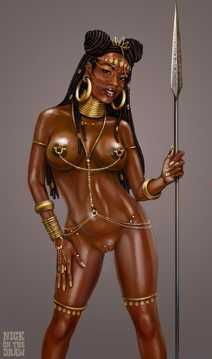 Pierced Afropunk Princess oiled up by nickonthedraw