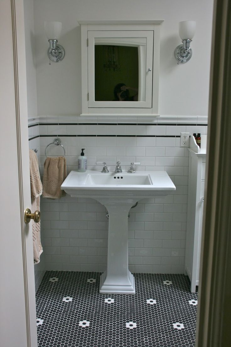 black vintage tile bathroom floori love that the detail is white instead of