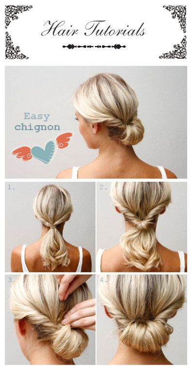 Talking about elegant? This super easy hair style will look just perfect on every outfit that you have picked up, from your simple T-shirt, your work suit, or your elegant dress. Put your hair in a ponytail as in the first picture, make bun and secure it with bobby pins in order to get that perfect hair look.#Hairstyle#