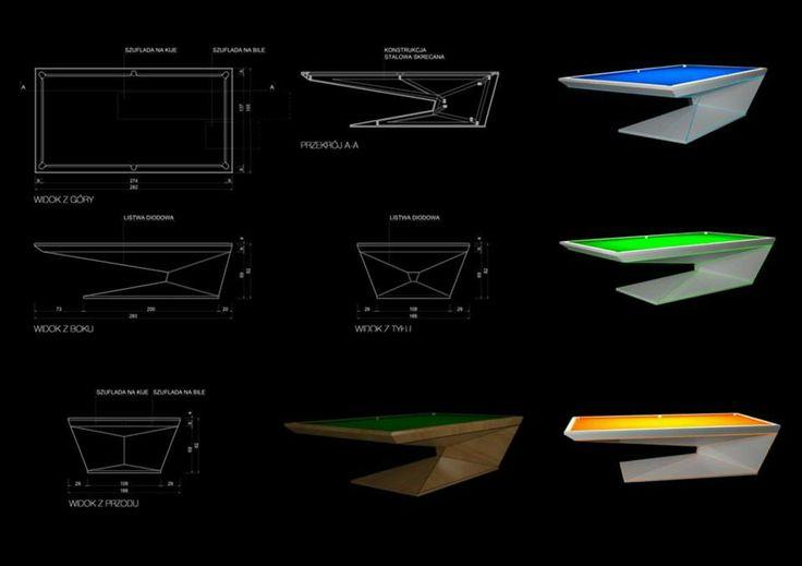 """Konkurs """"Projekt nowoczesnego stołu bilardowego"""" Lissy.  Wyróżnienia: Dariusz Kraszewski """"MA38K"""""""