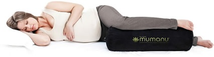 The Mumanu® [m'um-anooo] pregnancy pillow is a self-inflating pillow to use under your leg when pregnant or postnatal. By keeping your hip, knee and foot at the same height, the Mumanu® keeps you correctly aligned, preventing and relieving lower back and hip ache.