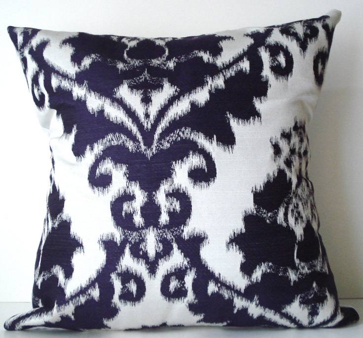 Handmade Ikat Throw Pillows : New 18x18 inch Designer Handmade Pillow Case purple on white ikat damask Handmade pillow cases ...