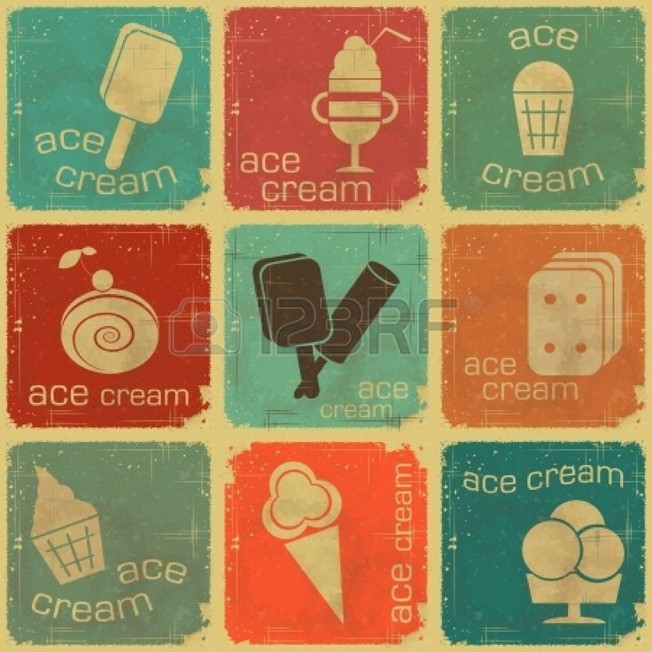 アイスクリームのビンテージセットラベル ストックフォト - 14021026