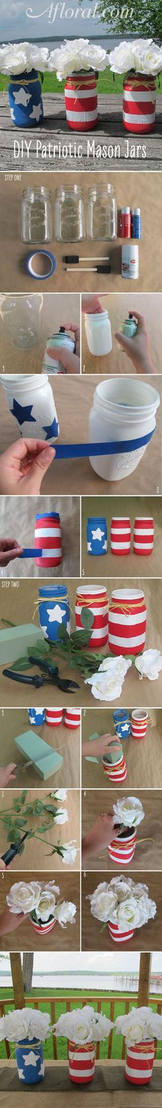 DIY Patriotic Mason Jars.   You can DIY these adorable Flag Mason Jars for your 4th of July wedding or Memorial Day centerpiece.  Find everything you need at http://Afloral.com.