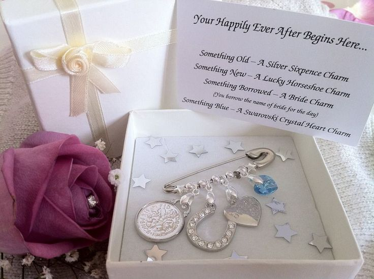 Bridal Charm Pin Something Old, New, Borrowed and Blue. Unusual wedding gift