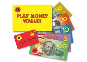 Play Money Wallet & Credit Cards This realistic Australian play money wallet contains 110 notes (5x $100, 15x $50, 30x $20, 30x $10 and 30x $5) and 5 credit cards.
