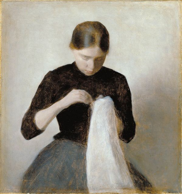 Vilhelm Hammershoi: Young Girl Sewing Oil painting, portrait