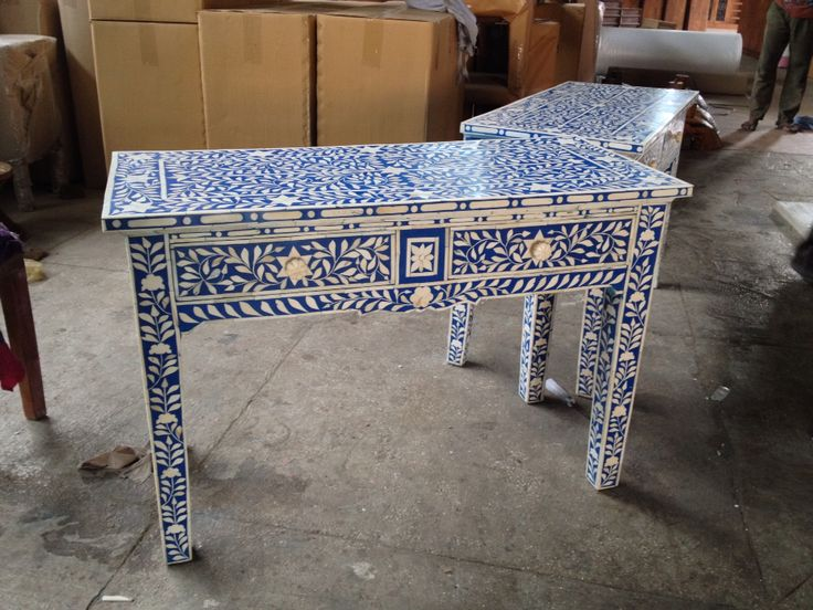 Bone inlay console table with 2 drawers , more products @ Antiquesindian.com