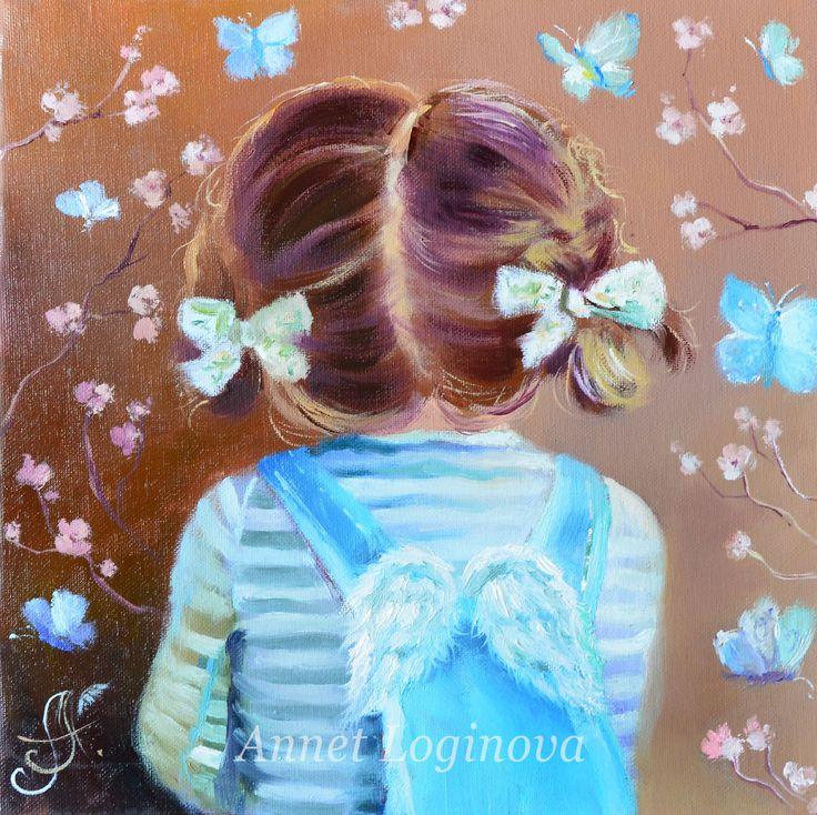 Купить Голубые бабочки - девочка, ангел картина, ангел, детский портрет, картина ангел