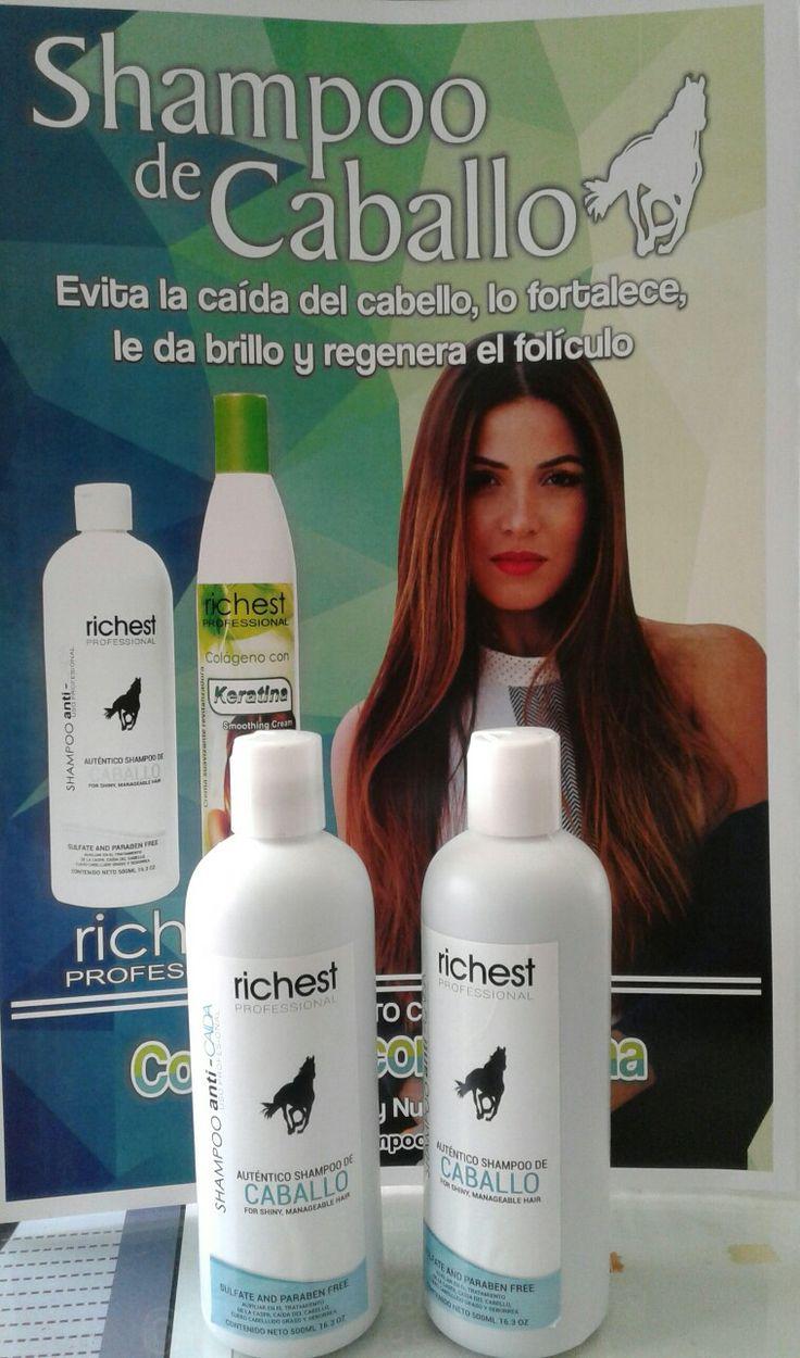 Shampoo de Caballo BENEFICIOS:  Libre de Sulfatos y Parabenos. Con un Ph equilibrado exclusivamente para la mujer.   La mezcla de ingredientes naturales; limpian el cuero cabelludo a profundidad eliminando las impurezas previniendo la caída del cabello y logrando el crecimiento de nuevo cabello. Ayuda a eliminar la caspa y seborrea.    INGREDIENTES:  Lairil, Éther, Dietanolamida, Diestrato 150, Cocobetaina, Espectroger, Fitonutrientes, Esencias de Chile, Sábila, Nopal, Jitomate, Creolina…