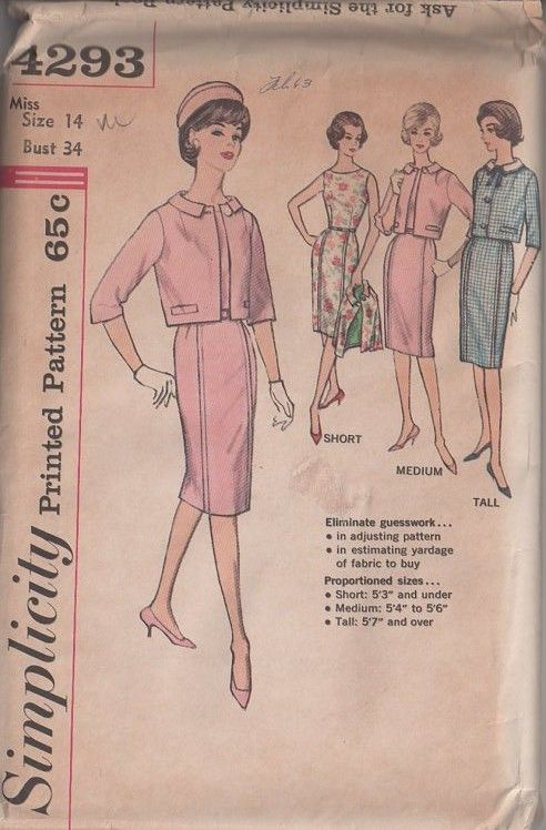 MOMSPatterns Vintage Sewing Patterns - Simplicity 4293 Vintage 60's Sewing Pattern SNAZZY Jackie O Chanel Style Suit Dress, Proportioned Collared Jacket, Tucked Stitch Trim Sheath Dress