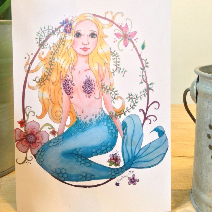 Mermaid card, mermaid postcard, beautiful card to sent to your loved ones. For more cards and posters and totes with mermaids, unicorns or woodland animals Please visit LumisaDesign.