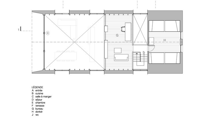Afbeeldingsresultaat voor White cedar covers gabled lake house in - plan salon cuisine sejour salle manger