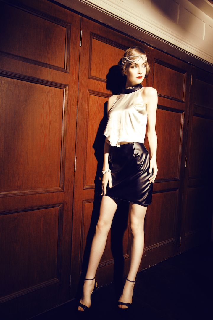 Asymmetry crop worn with detachable skirt - mini skirt