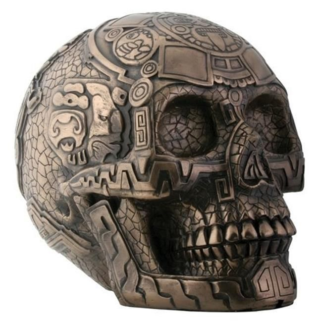 Bronze Aztec Tribal Skull Statue Realistic Oddities Figure Gothic Home Decor