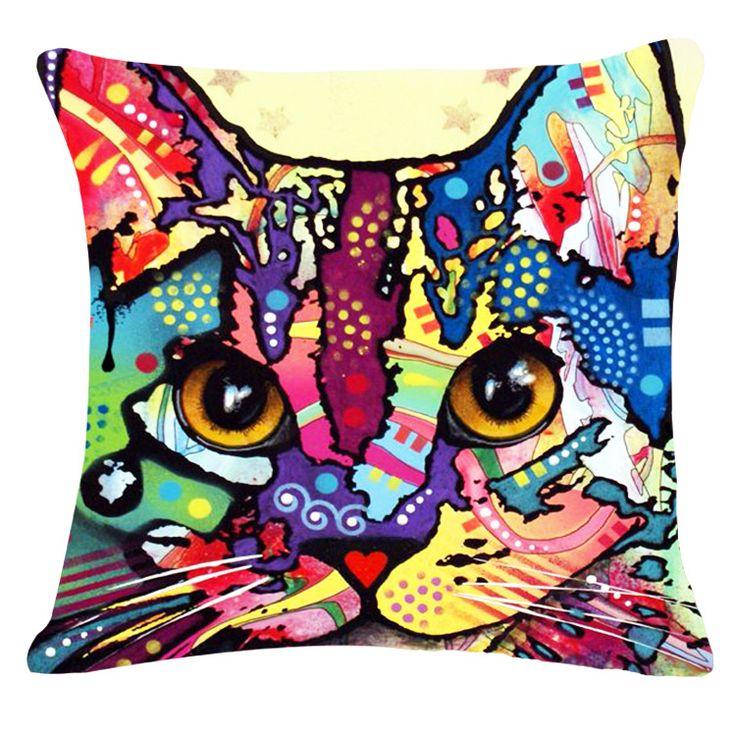 2016 масло напечатаны цвета кошки подушка без пользовательского хлопок белье декоративные подушки диван подушки домашнего декора 45 * 45 смкупить в магазине E-home MalaнаAliExpress