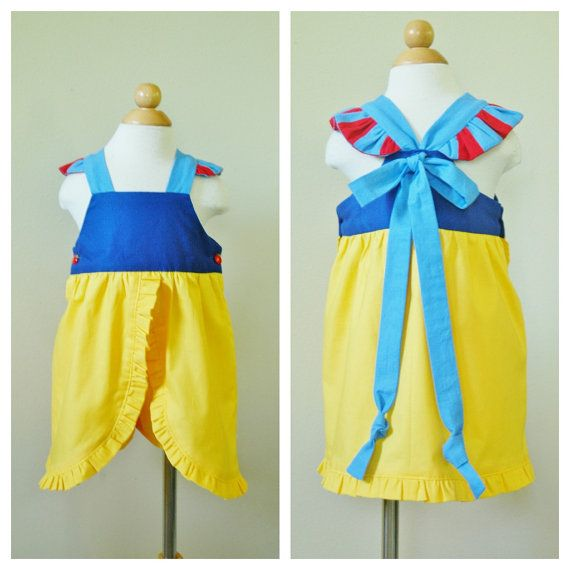 Snow White Princess Inspired Toddler Ruffle Dress with Yellow Shorts by PapooseClothing