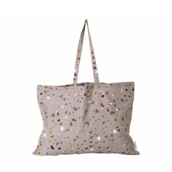 Ferm Living Large Tote Bag Terrazzo Rose: The new large tote bag from Hay featuring new edgy terrazzo pattern, this is a perfect bag for toting your essentials when shopping, vacationing or in the daily grind. It is an extra large tote bag, so there will be room for everything you need.