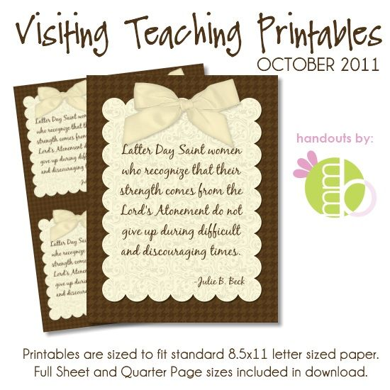 Great handouts to take Visiting Teaching with you! Or to even send with your letters to your women that you cannot visit!