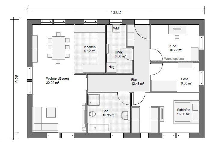 bgx7 bungalow grundriss 106qm 4zimmer house plans decoration pinterest bungalow tiny. Black Bedroom Furniture Sets. Home Design Ideas