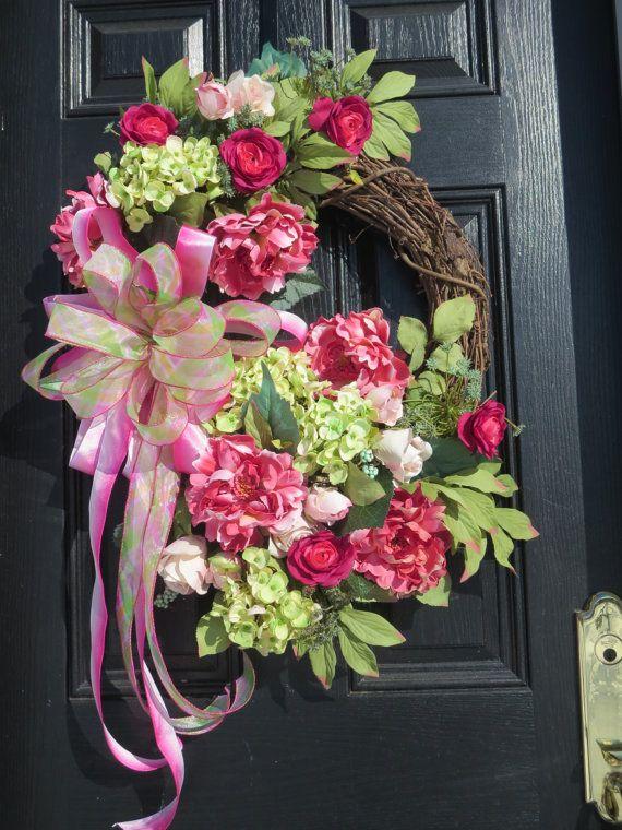 Spring or Summer Door Wreath, Front Door Wreaths, Luxury Wreaths, Silk Flowers Wreath, Hydrangea Wreath, Roses, Peonies, Hydrangeas