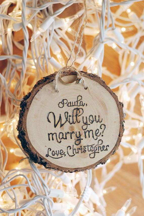 Perfect Proposal Idea! - Will You Marry Me? - Wood Burned Ornament - Personalized Custom Names - Wedding Engagement Gift Prop - Wedding - Christmas Day - Holiday - Thanksgiving