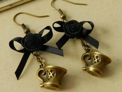 ~Wonderland~ Inspired Black Bow Teapot Earrings