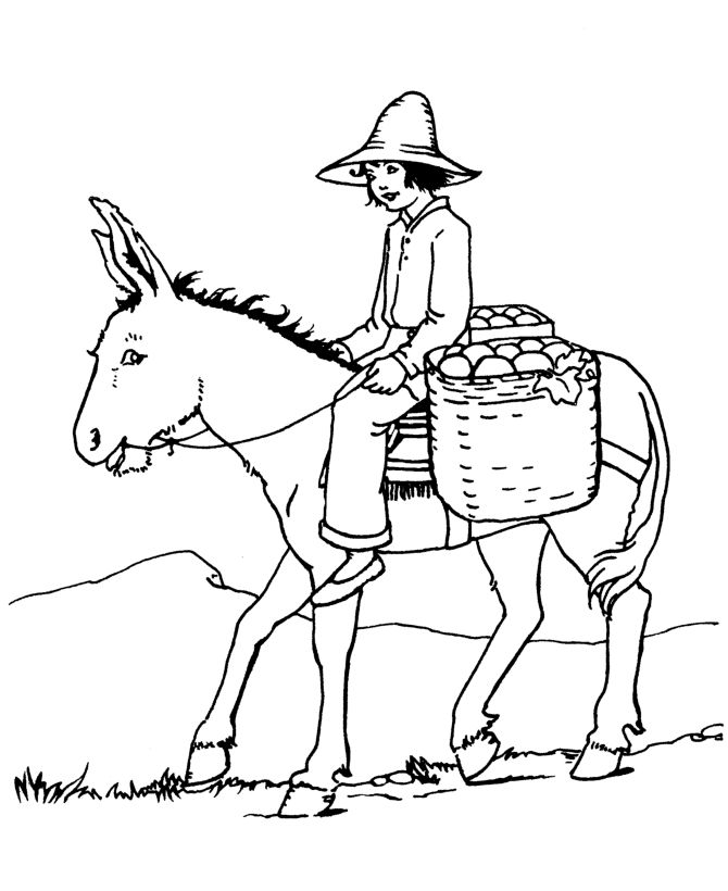 Farm Animal Coloring Page Riding A Donkey To Market Animal