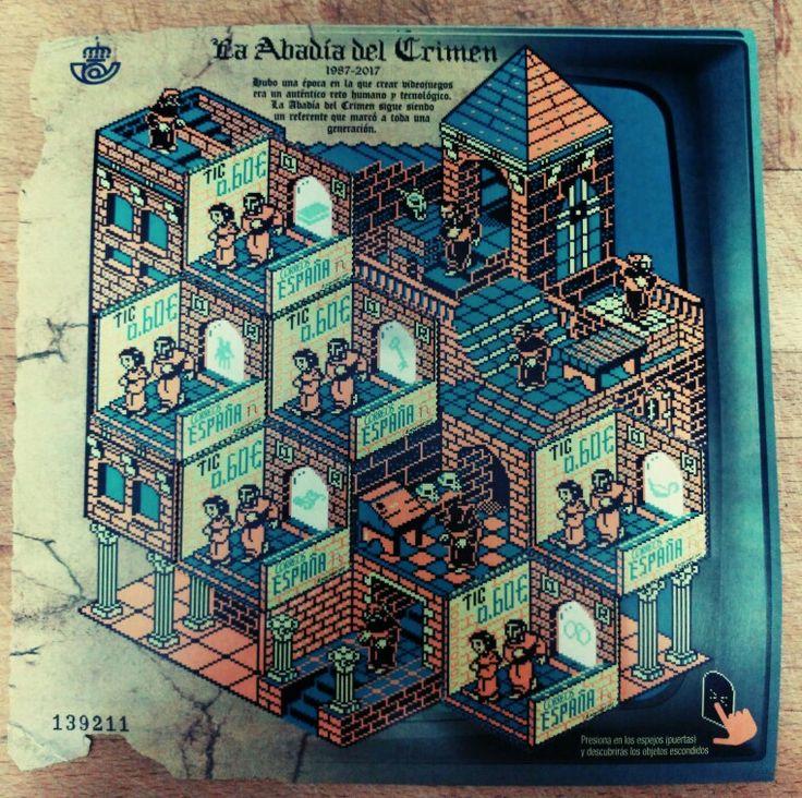 La filatelia a veces produce sellos fascinantes como este, homenaje a un famoso videojuego de los 80s, La Abadía del Crimen. Bravo por la Fabrica Nacional de Moneda y Timbre.