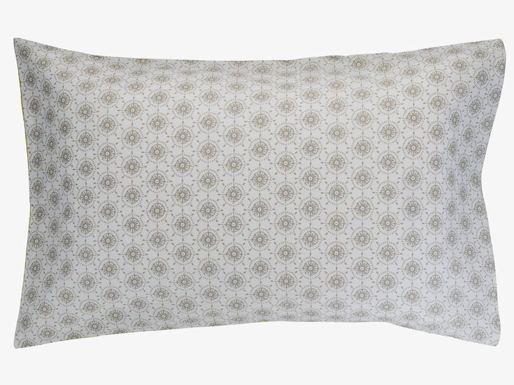 DITSY MULTI-COLOURED Cotton Grey and yellow reversible pillowcase - HabitatUK