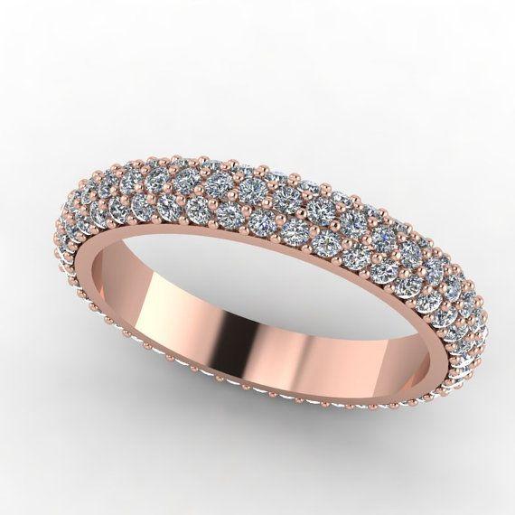 Rose Gold Diamant zu ebnen Hochzeitsband von fabiandiamonds auf Etsy