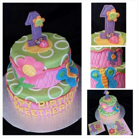 Anna's cake creations!   1st birthday cake based on fun napkin print!