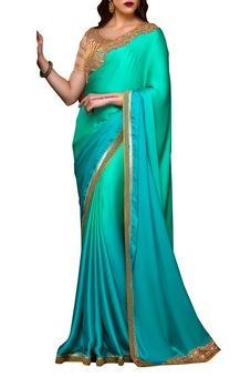 Green Satin Embroidered Saree by Stylee Lifestyle, Saree with Blouse Piece #saree #indianwear #ethnicwear #traditional #indianoutfit #fashion #indianfashion #sareewithblouses #ootd #potd #colorful #pretty #beautiful #glitstreet