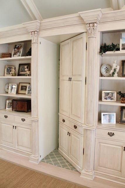 Secret Door Disguised As Part Of A Built In Bookshelf