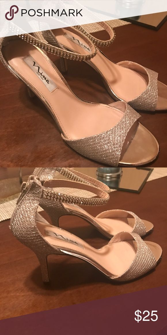 Nina Heels Pageant heels worn one time. Heel is 2-3 inches. Champagne color Shoes Heels