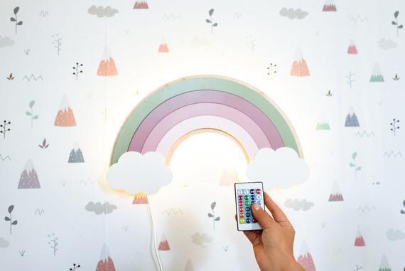 Rainbow Lamp Nightlight Stay Home Stay Bright Nursery Wall Etsy In 2020 Rainbow Night Light Bright Nursery Night Light Lamp