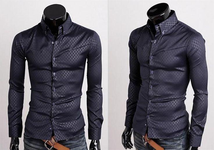 Темно синяя мужская рубашка