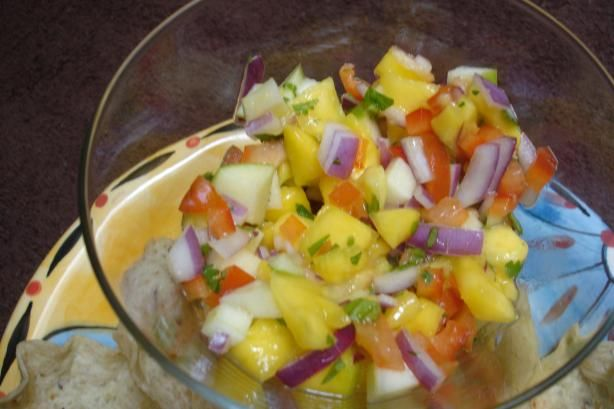 Apple Mango Salsa from Food.com:   A side dish from the Bahama Breeze website. They serve this with West Indies Patties and Jerk Painted Fresh Fish