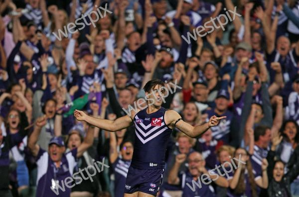AFL Round 5 - Fremantle Dockers vs North Melbourne Kangaroos at Subiaco Oval, Perth. Pictured - Fremantle's Shane Kersten celebrates kicking the winning goal Picture: Daniel Wilkins